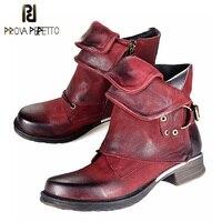 Prova Perfetto New Fashion Women Martin Boots Retro Flat Bottomed Female Knight Short Ankle Boots Punk