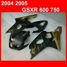 Новые горячие детали кузова обтекатели для Suzuki GSXR 600 750 04 05 черное золото мотоцикл обтекатель комплект GSXR750 2004 2005 YN39