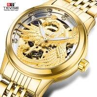 Tevise 2017 new women's fashion luxury diamond mechanical watch ladies gold watch dress automatic clock best gift relojes mujer