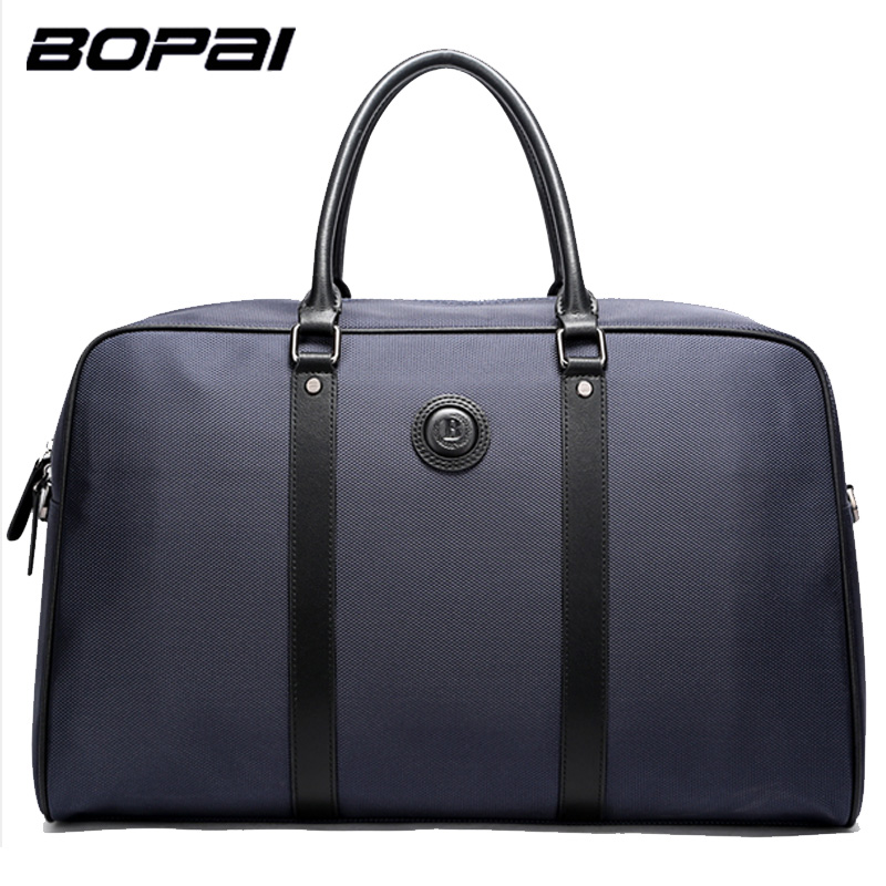 BOPAI Brand Men Travel Bags Messenger Handbag Shoulder Bag Male Casual Fashion Business Laptop Color Blue Black Size 46*19*28cm new shoulder casual bag messenger bag canvas man travel handbag for male trip daily use grey khaki black color fashion