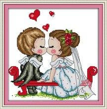 Joy Sunday A Kissing of Angels Counted Cross Stitch 11CT 14CT Set Cross-stitch Kit Embroidery Needlework