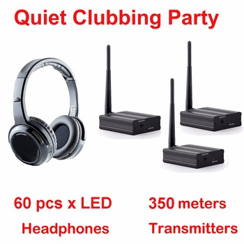 Silent Disco complete system 350m led wireless headphones - Quiet Clubbing Party Bundle (60 Headphones + 3Transmitters)