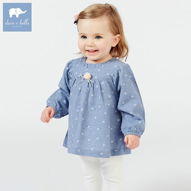 Db7380 Dave Bella Spring Baby Girls Clothing Sets Kids Denim Blue Suit Children Toddler Outfits High
