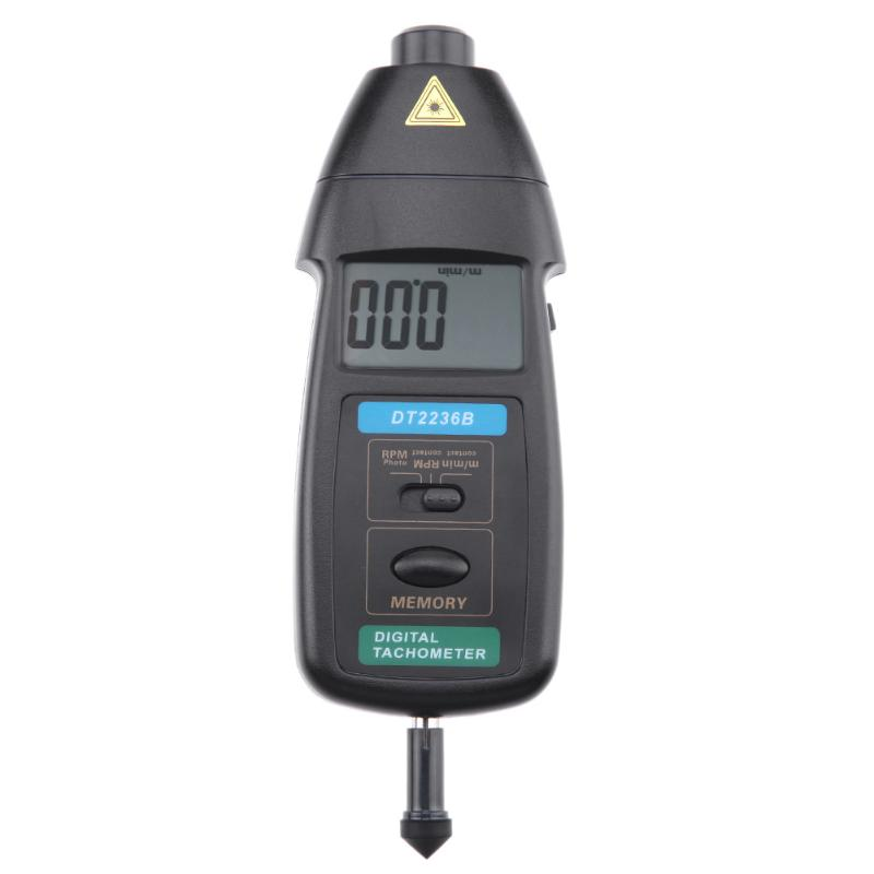 DT2236B Professional Photo Contact Tachometer Handhold LCD Digital Tachometer Wide Measuring Range Speedometer RPM Meter dt 2856 photo touch type tachometer dt2856