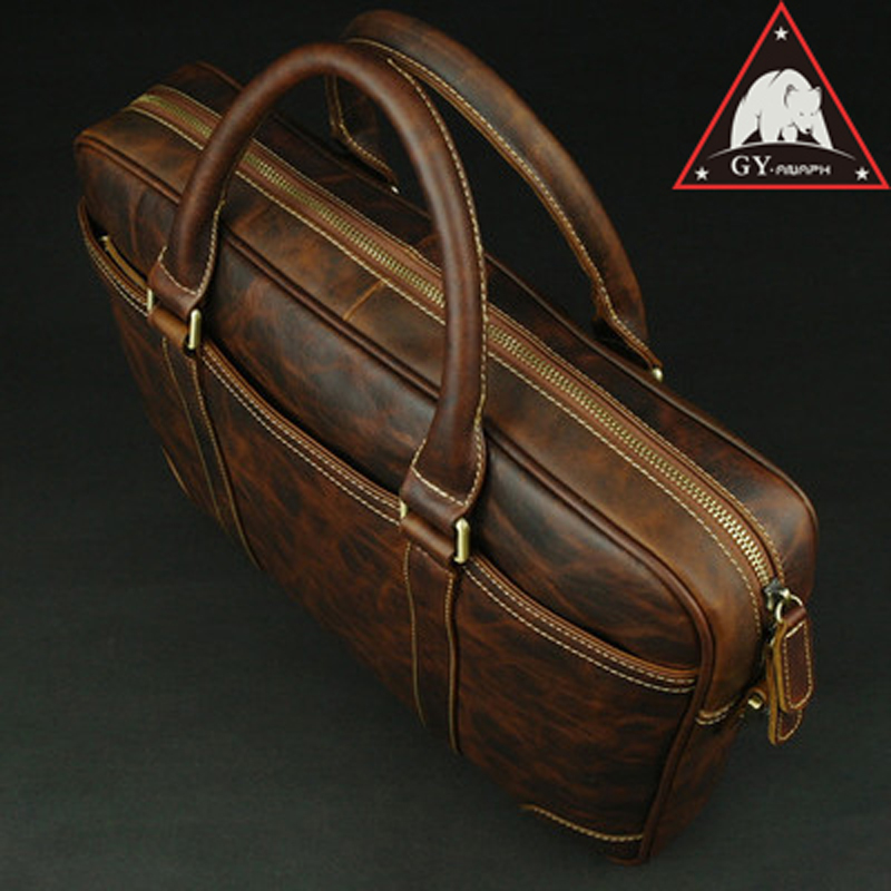 ANAPH Men's Briefcases Genuine Leather Laptop Bags/ Mens Business Messenger Bag/ Slim Office Work Tote/ Top Quality In Chocolate
