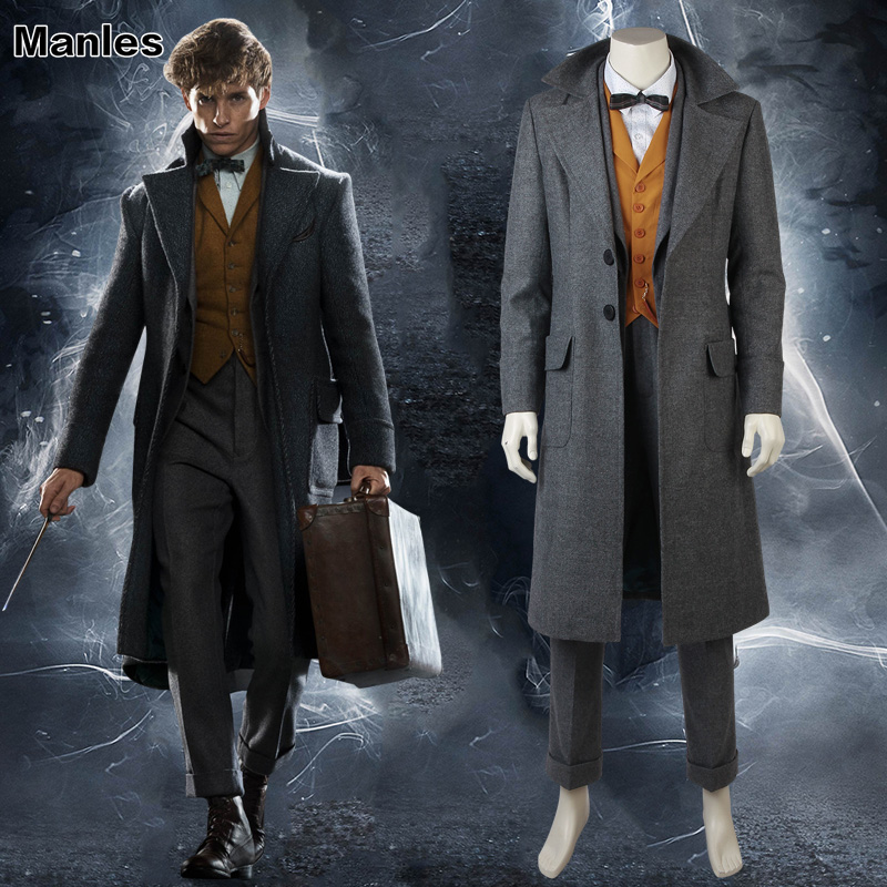 Fantastic Beasts and Where to Find Them 2 Costume Newt Scamander Cosplay Suit Carnival Adult Men Halloween Custom Made Full Set