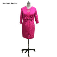 Modest Fuchsia Sheath Bow Lace Mother of the Bride Dress 2017 with 3/4 Sleeves Bolero Jacket Formal Women Party Prom Gown JE110