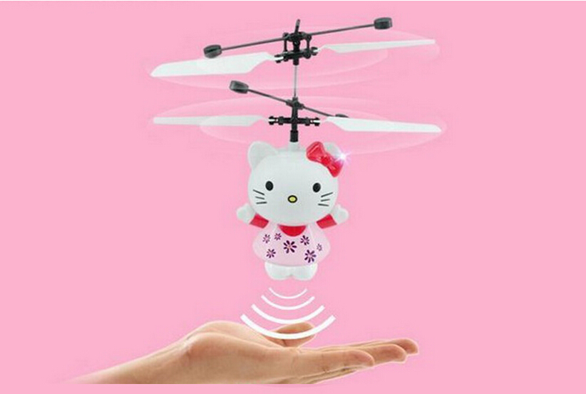 Cute Hello Kitty Inductive Fly Electric Toy Airplane Model Flash Shatterproof Induction 8 Years old Children Funny Toy Gift