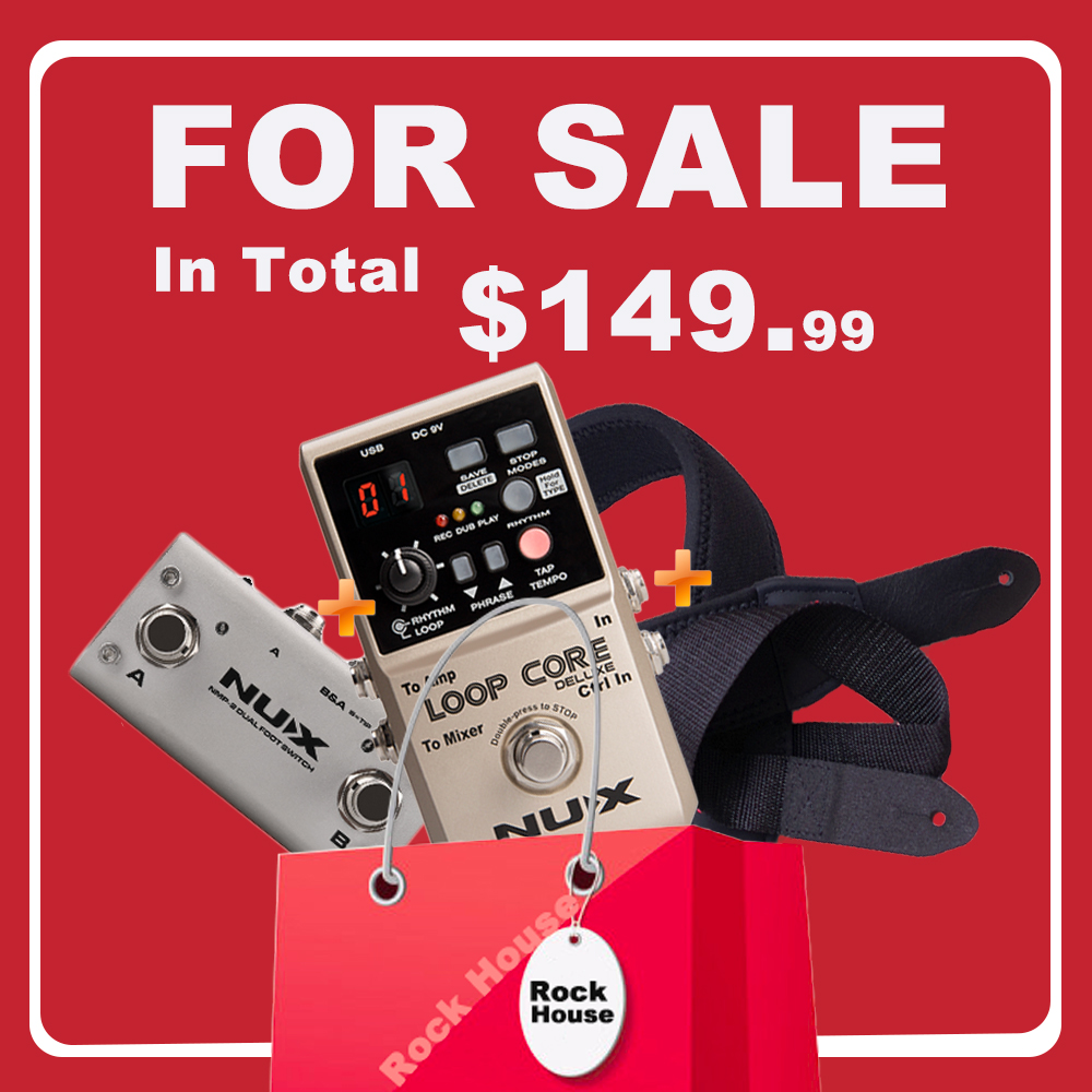NUX Loop Core Deluxe Guitar Effects Pedal Loop Station 8 Hours Looping Time Built-in Drum Patterns with Pedal Switch True Bypass