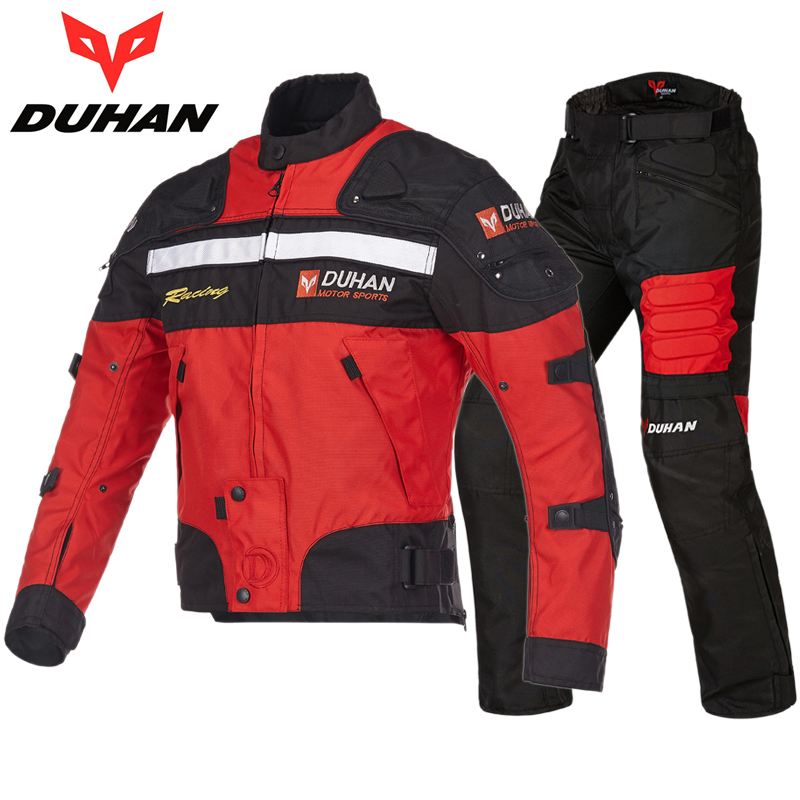 DUHAN BLACK RED BLUE motorcycle jacket men hand protection casco motocross full body armor summer racing
