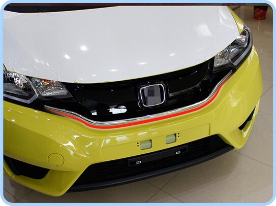 ФОТО Free shipping! High quality stainless steel front grille trim, bright wisp for Honda Fit,Jazz 2014