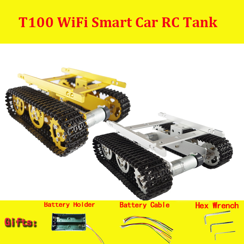 T100 Metal Robot Tank Car Chassis with Aluminum Alloy Chassis/Frame with Robotic Arm interface holes for Modification DIY