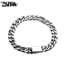 цена ZABRA 925 Sterling Silver Simple Glossy Chain Link Bracelet For Men Women Biker Retro Wedding онлайн в 2017 году