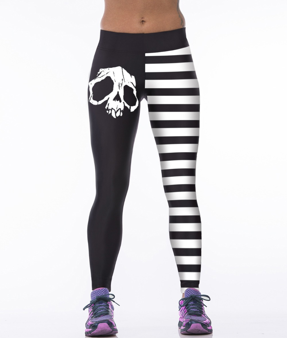 High Waist Leggings Women Sexy Hip Push Up Skull Printed Pants ...