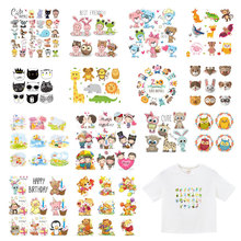 Cartoon Cute Animal Patch Set Heat Transfer Stickers Stripes for Clothing Kids T-shirt Unicorn Cat Girl Owl Patches Clothes