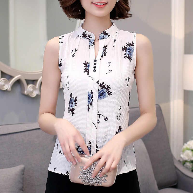 Dreawse kobiety szyfonowe bluzki lato dekolt w serek elegancki bez rękawów kwiatowy koszula z nadrukiem guziki damskie bluzki kobieta odzież MZ2583