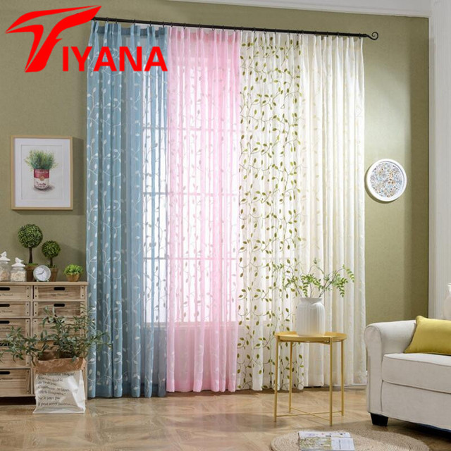 Rustic Fresh Green Leaves Pattern Embroidered Curtain For Living Room Bedroom Kitchen Sheer Curtains Window