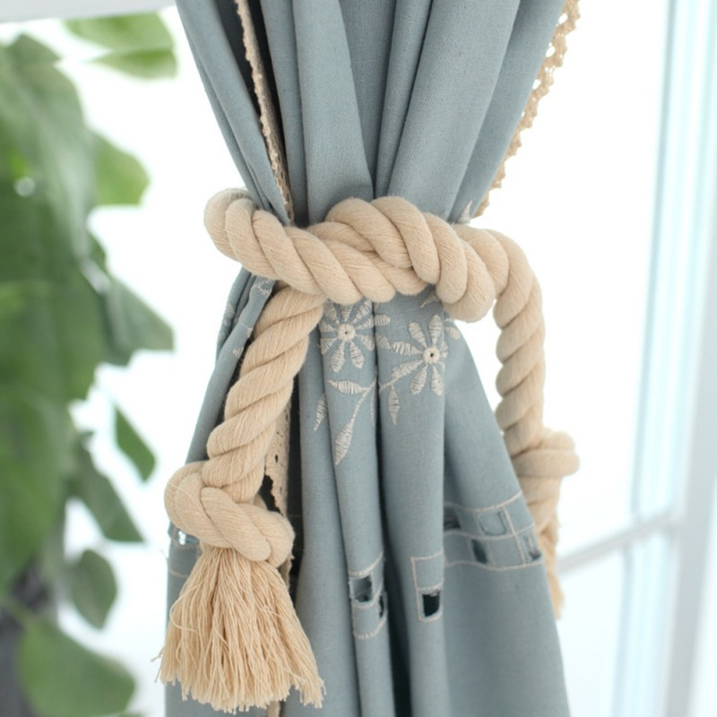 Aspiring 2pcs Curtain Ring Cotton And Linen Hand-woven Curtains Tied Rope Knitting Pearl Curtain Buckles Curtain Accessories Curtain Decorative Accessories