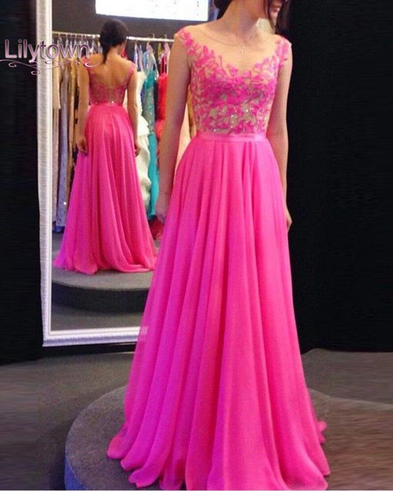 Long Hot Pink Backless Prom Vestidos Sexy gasa Vestidos Largos ...
