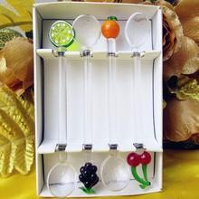 Factory wholesale! Creative glass fruit sculpture decorative spoon set high quality wedding restaurant tableware