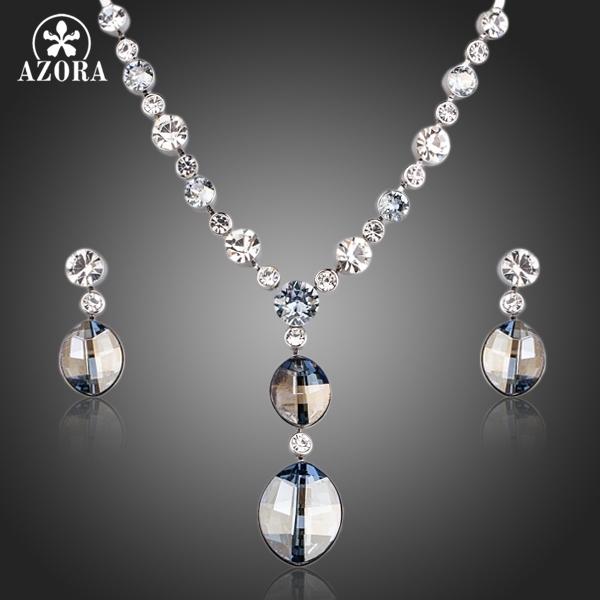 AZORA Design Simples Elipse Stellux Cristal Austríaco Pingente de Colar e Brincos de Conjuntos de Jóias TG0154