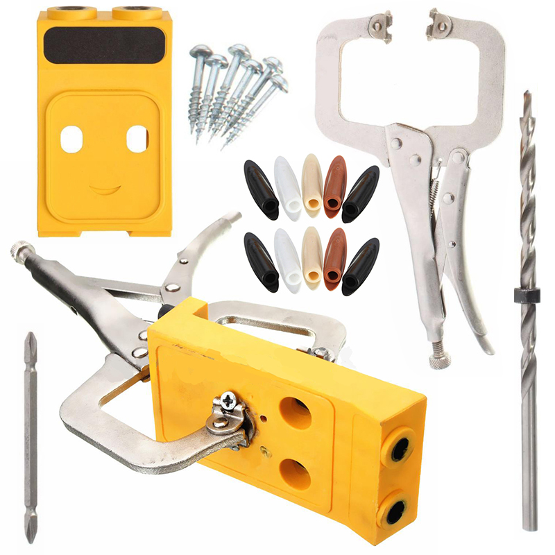 Pocket Hole Drill Guide Jig Set Kit Wood Woodworking Carpentery Hole Opening Tool Inclined Locator Wood Work Tools Sets 1 4 hex twist 9 5mm diameter bits step drill woodworking drills bits set for kreg pocket hole drill jig guide