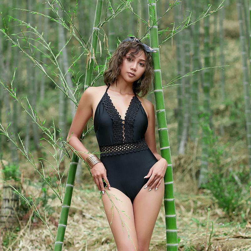 1 Piece Swimsuit Women One Swimming Suit Swimwear Plus Size Sexy Backless Hollow Female Black Solid Color Bubble Patchwork