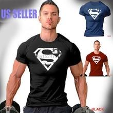 b31b82369d1648 Superman T-Shirt Men Distressed Logo Workout Gym Bodybuilding Weight  Training(China)