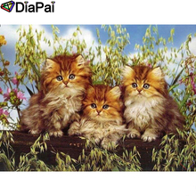 DIAPAI Diamond Painting 5D DIY 100% Full Square/Round Drill Animal cat Embroidery Cross Stitch 3D Decor A24774