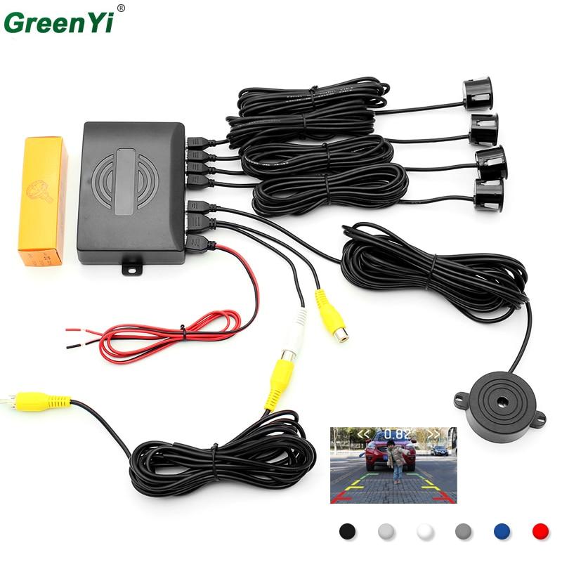 Dual-Core CPU Car Video Parking Sensor Car Parking Reverse Backup Radar System with 4 Sensors, Can Connect DVD&Monitor цены