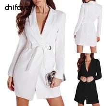 2018 New Female White Blazer Slim Black Long Women Blazers And Jackets Autumn Ladies Long Sleeve Sashes Women's Jacket chifave