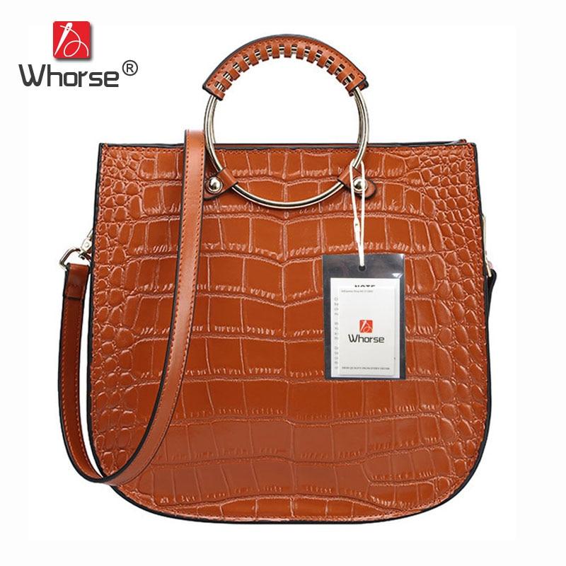 [WHORSE] Brand Crocodile Designer Dandbags High Quality Genuine Leather Women Messenger Bag Handbag With Ring Handle W08250 стоимость
