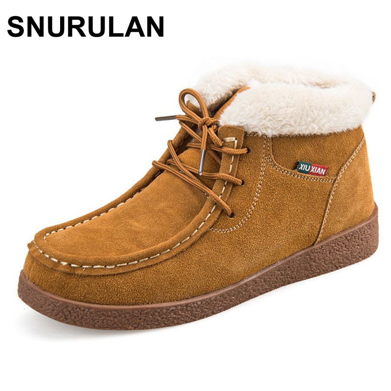 SNURULAN women ankle boots plus cotton warm winter snow boots 2017 autumn new fashion lace-up suede genuine leather women shoes