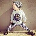 Новая Коллекция Весна Осень Baby Boy Девушка Установленные Одежды Мужской Хлопок Монстр Полный Рукав Футболки и Полосой Брюки