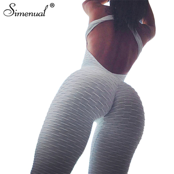 Simenual Bodybuilding sportswear long jumpsuit body for women backless push up fitness overalls rompers bandage white jumpsuits 1