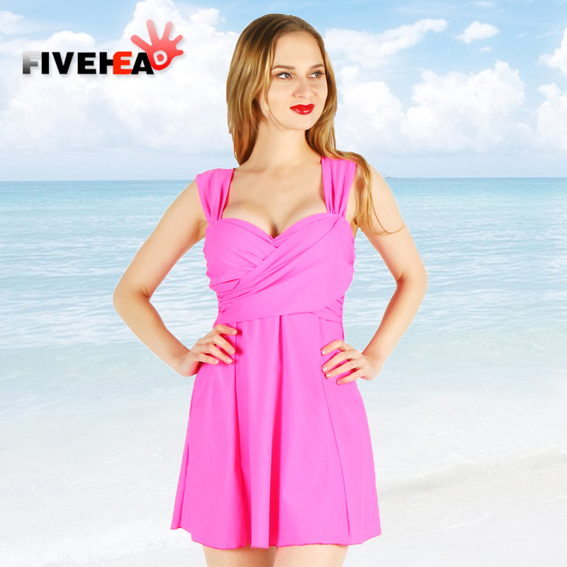 one-piece women swimwear sexy sling solid color halter deep v large size big bust bathing swimsuit push up swimdress female trendy solid color halter pleated one piece skirt swimwear for women