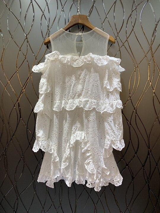 Rond Lotus Longues Blanc Nouvelles Manches Printemps Feuille Robes Edge0308 Col 2019 À Avec Femmes De D'été Et OqwUU