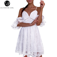 Lily Rosie Girl Sexy Black Lace V Neck Women Mini Dress Short Sleeve Mesh White Backless