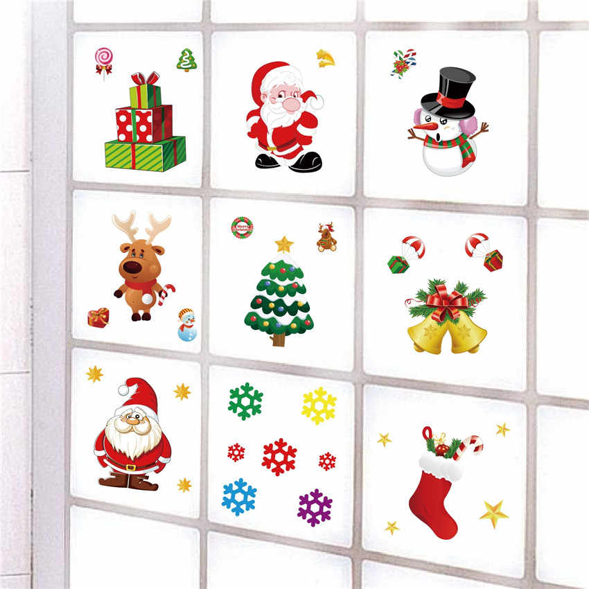 Christmas Removable Window Glass Stickers Refrigerator Santa Claus PVC Wall Sticker Gifts Christmas Decoration For Home Stickers