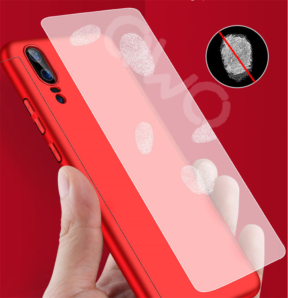 360 Degree Full Protective Phone Case For Huawei P20  P20 Lite P20 Pro Cover Case For Huawei P20 Lite P10 P10 Lite P10 Plus Mate 10 Lite Mate 10 Pro Matte Shell Tempered Glass 6