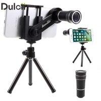 DULCII Uniwersalny 10X Zoom Optyczny Teleskop Teleobiektyw Obiektyw do Kamery Telefonu komórkowego ze Statywem Smartphone Len