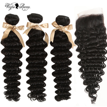 Queen Virgin Remy Hair Loose Deep Wave Bundles With Lace Closure 3/4 Bundles Human Hair With Closure Indian Hair Free Shipping