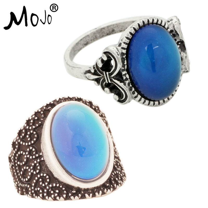 2PCS Antique Silver Plated Color Changing Mood Rings Changing Color Temperature Emotion Feeling Rings Set For Women/Men 008-005