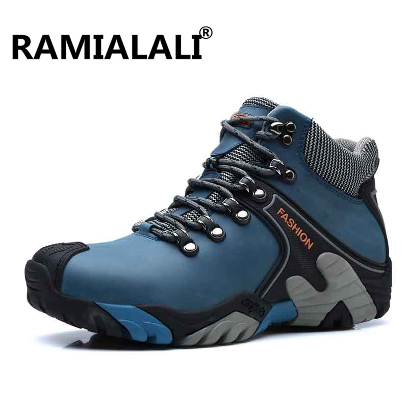 Ramialali Classics Style Men Hiking Shoes Lace Up Men Athletic Shoes Genuine Leather Outdoor Jogging Sneakers Trekking Sneakers nike men s indee high shoes athletic sneakers leather white