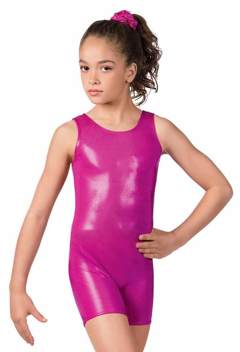 Dziecko elastan zbiornik Biketards metalowe, dziewczyny, gimnastyka, Unitard Shorty chłopcy srebrny błyszczące taniec trykoty krótki maluch Dancewear
