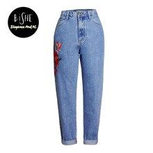 Bishe джинсы-бойфренды для женщин вышитые джинсовые штаны женские плавки плюс Размеры свободные женские брюки Высокая талия джинсы женские
