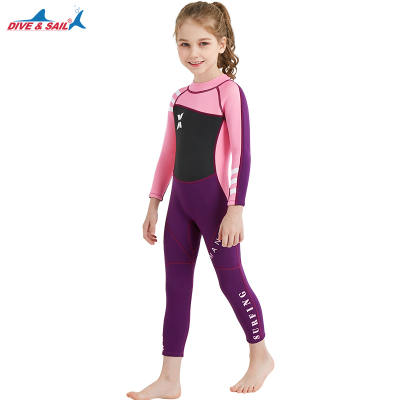 DIVE & SAIL Kids Wetsuit 2.5mm Neoprene Keep Warm For Diving Swimming Canoeing UV Protection Pink Girls Boys 3-10Y