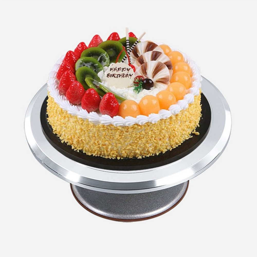 Rotating Stainless Steel Cake Swivel Plate Round Cake Platform With Silicone Base Durable Revolving Decoration Stand