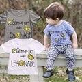 Детские Мальчики Девочки Футболки Прекрасный Цвет Слова Немного Lemon Печати Летняя Футболка Тис Топ
