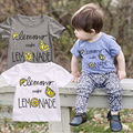 Infant Baby Boys Girls T-shirts Lovely Color Words Little Lemon Print Summer T-shirt Tees Top